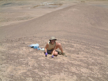 Graduate student Alison Skelley at the Rock Garden in Chile's Atacama desert